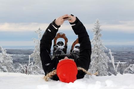 Lumikenkäilyä Kolilla.